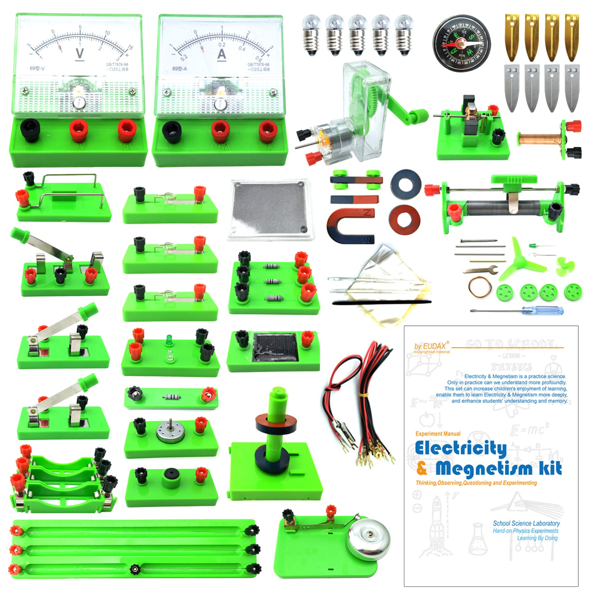 EUDAX School Physics Labs Basic Electricity Discovery Circuit and Magnetism Experiment kits for Kids Junior Senior High School Students Electromagnetism Elementary Electronics by EUDAX