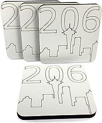 Kate Grenier Designs Seattle 206 Skyline Coasters (4 Pack), White