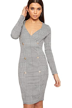68fdfc7f9320 WearAll Women's Houndstooth Multi Check Print Long Sleeve Bodycon Ladies  Blazer Dress - Black White -