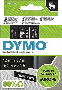 Dymo D1 Standard Labelling Tape 12mm x 7m - White on Black
