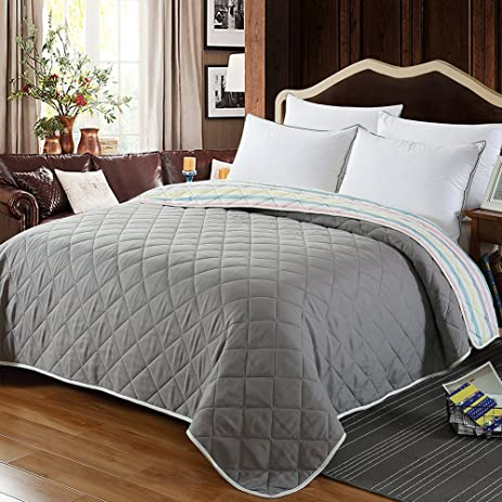 NEWLAKE Thin Reversible Comforter Quilt Bed Coverlet For Summer (Queen Size)