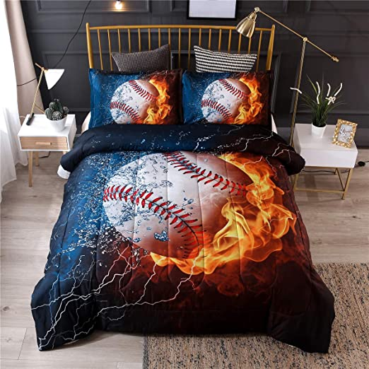 Queen Baseball Mozeo 3D Baseball Bedding Duvet Cover Set 3 Piece 1 Duvet Cover+2 Pillowcase for Teen Boys Sports Microfiber Bedding Quilt