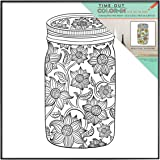 MCS Time Out Color In Framed Adult Coloring Page With Sunflower Mason Jar Design