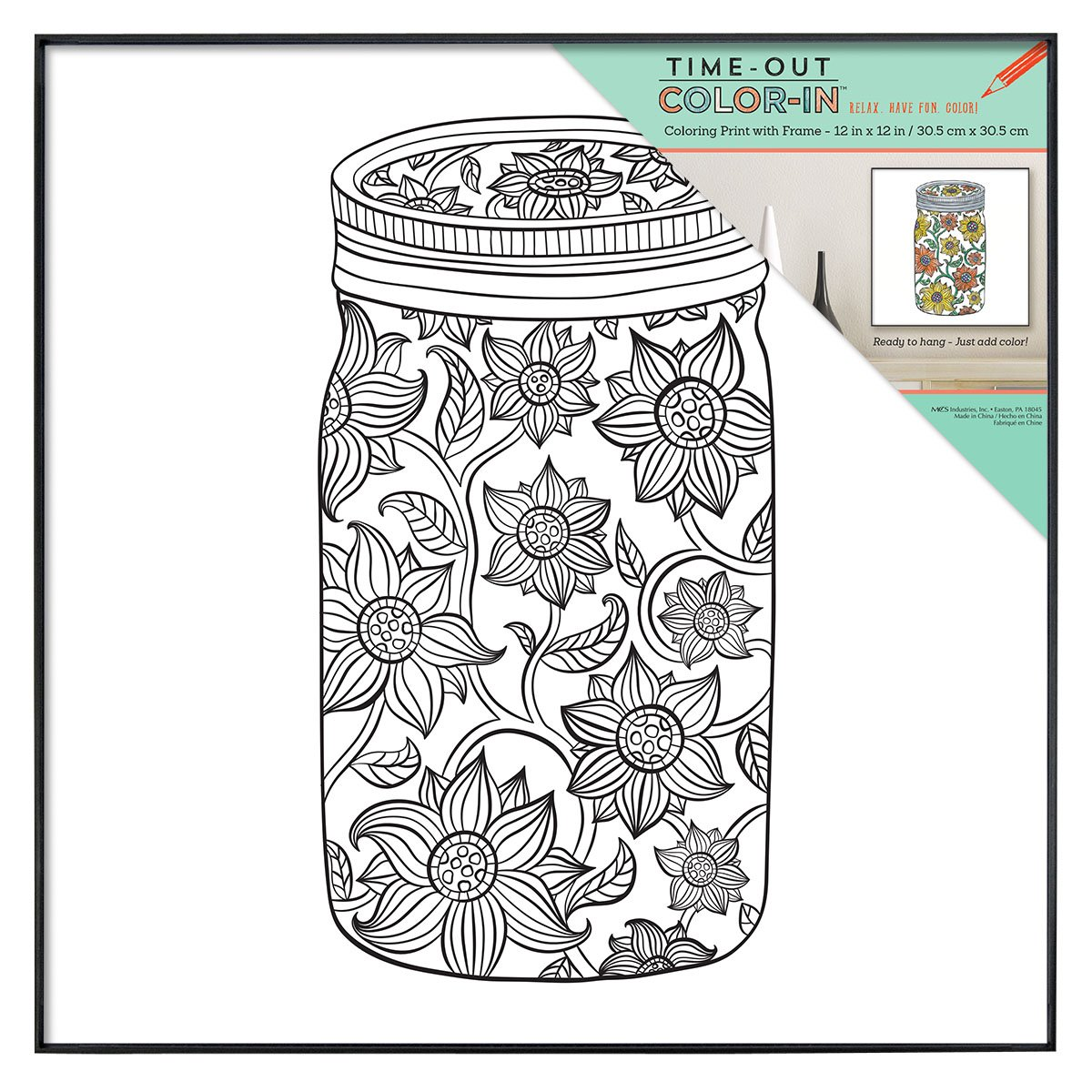 Amazon MCS Time Out Color In 12x12 Inch Framed Adult Coloring Page With Sunflower Mason Jar Design 65627 Home Kitchen
