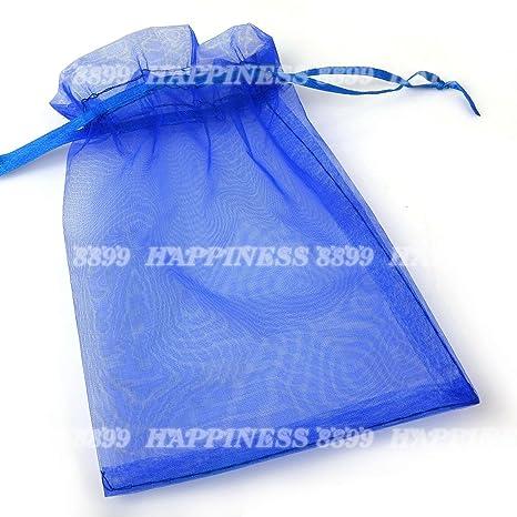 Bolsas de organza, 50 unidades, 9 x 12 cm, ideales para bodas, regalos y dulces, color azul