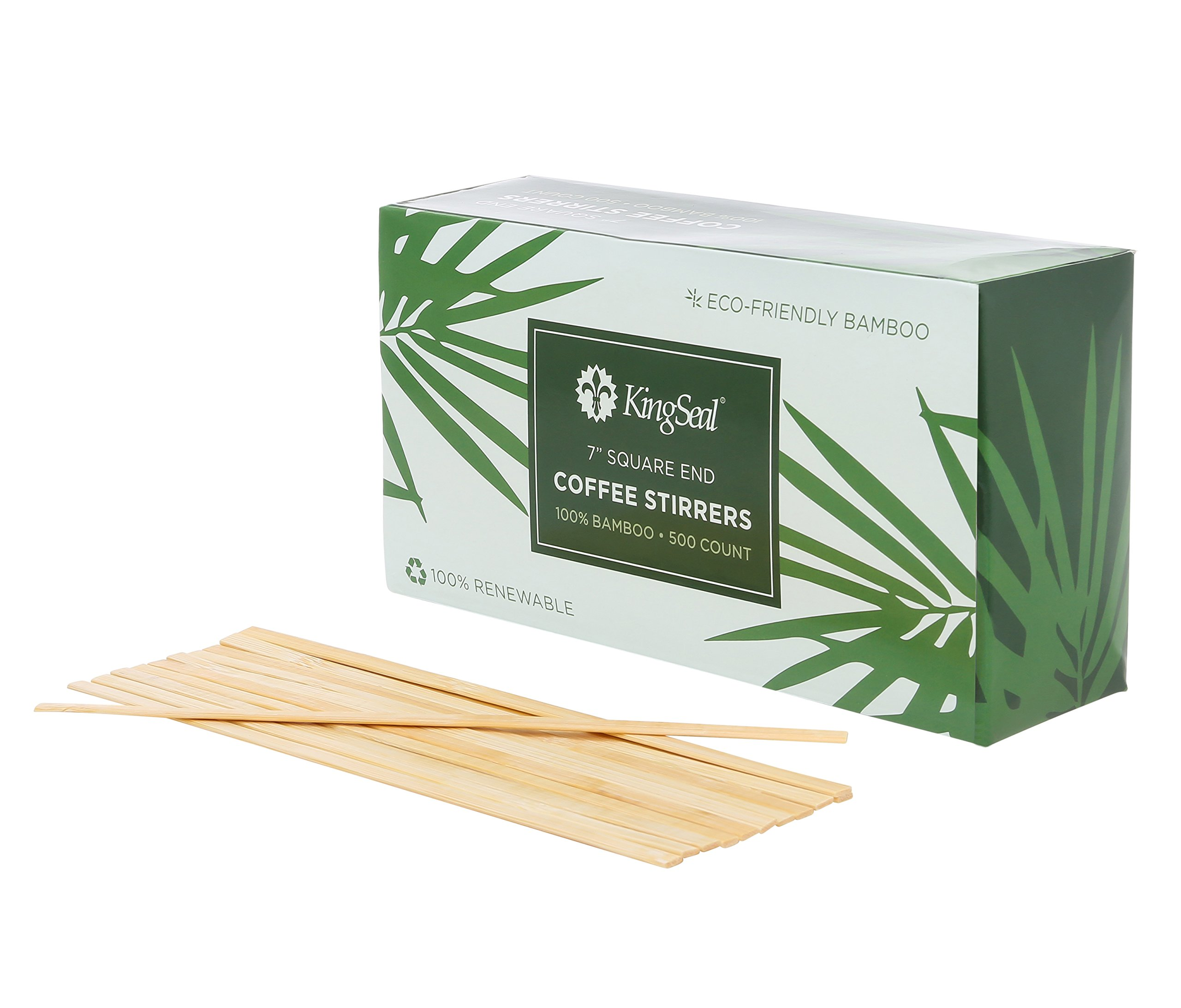 KingSeal Bamboo Wood Coffee Beverage Stirrers, Square End - 7 Inches, 2 boxes of 500 each, 100% Renewable and Biodegradable, Stronger and Thicker Than Standard Wood