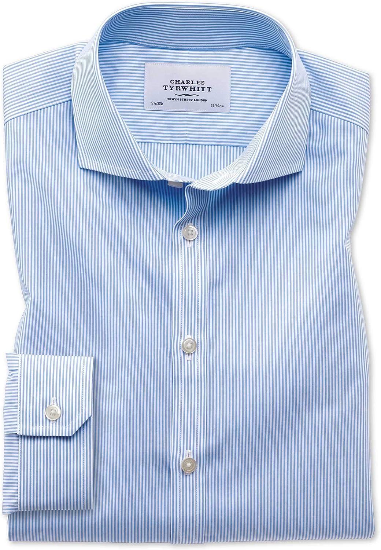 Charles Tyrwhitt Camisa Azul superentallado a Rayas de Bengala con Cuello Italiano: Amazon.es: Ropa y accesorios