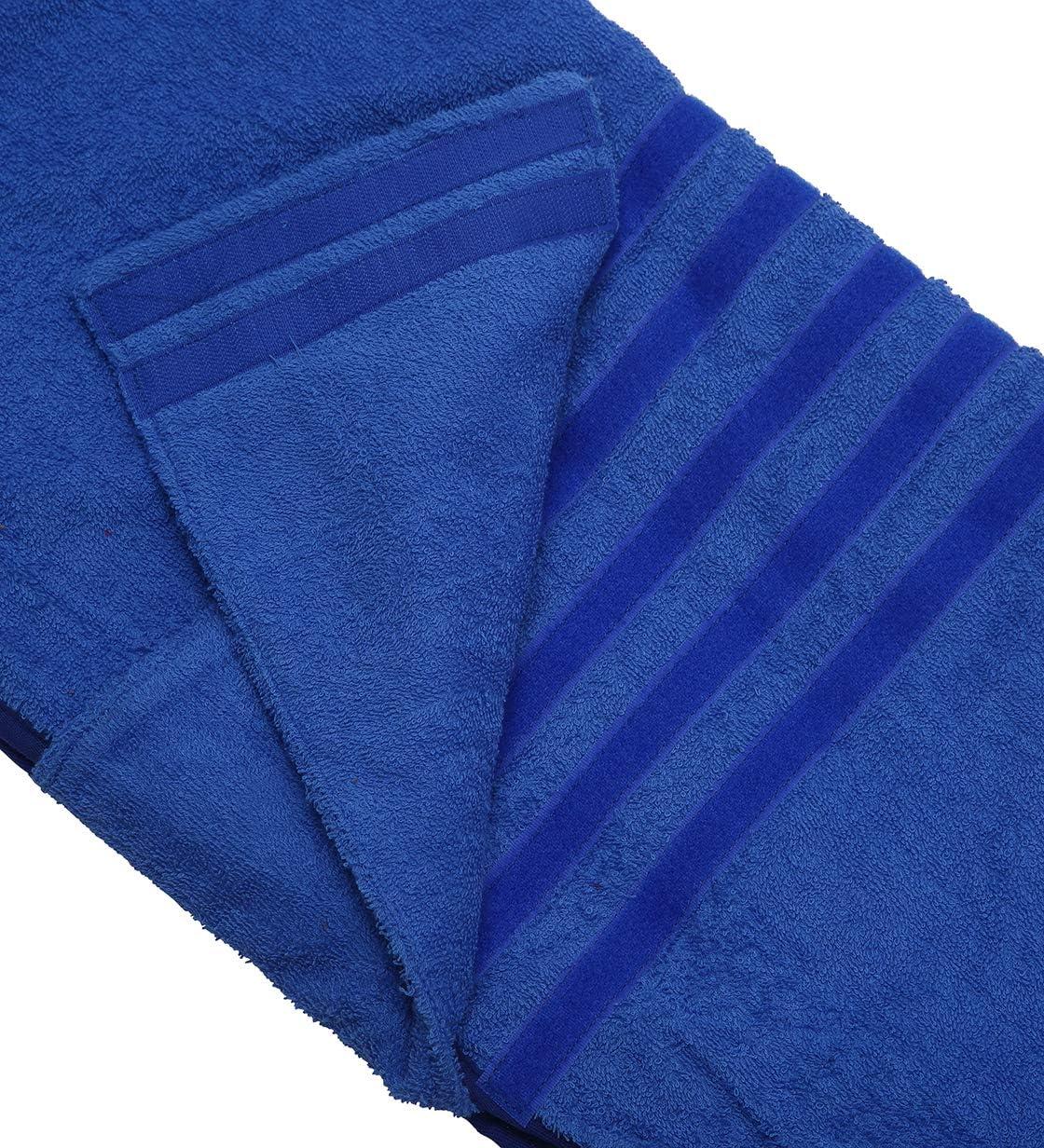 Morezi Pet towel microfibre dog bath robe anxiety relief jacket vest design keep calm wrap vest fit for xs small medium large dogs Blue Xlarge