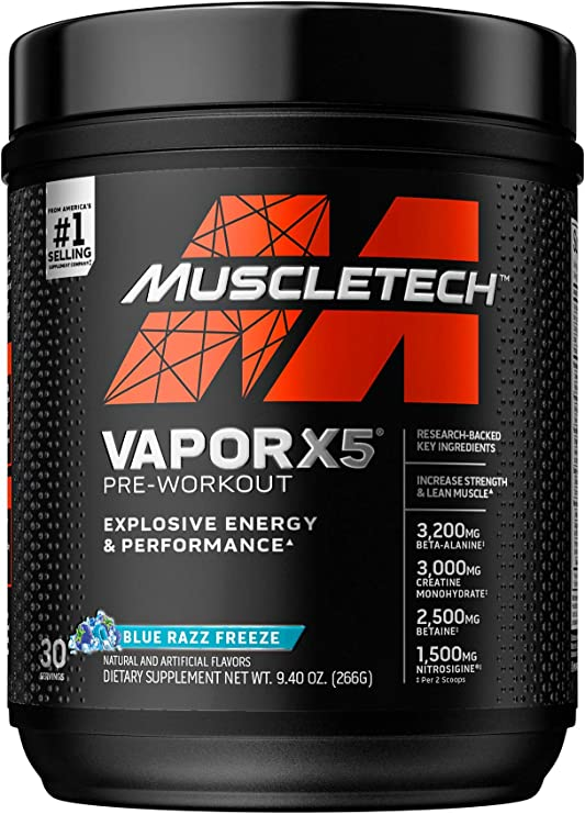 Pre Workout Powder | MuscleTech Vapor X5 | Pre Workout Powder for Men & Women | PreWorkout Energy Powder Drink Mix | Sports Nutrition Pre-Workout Products | Blue Raspberry (30 Servings)-Package Varies