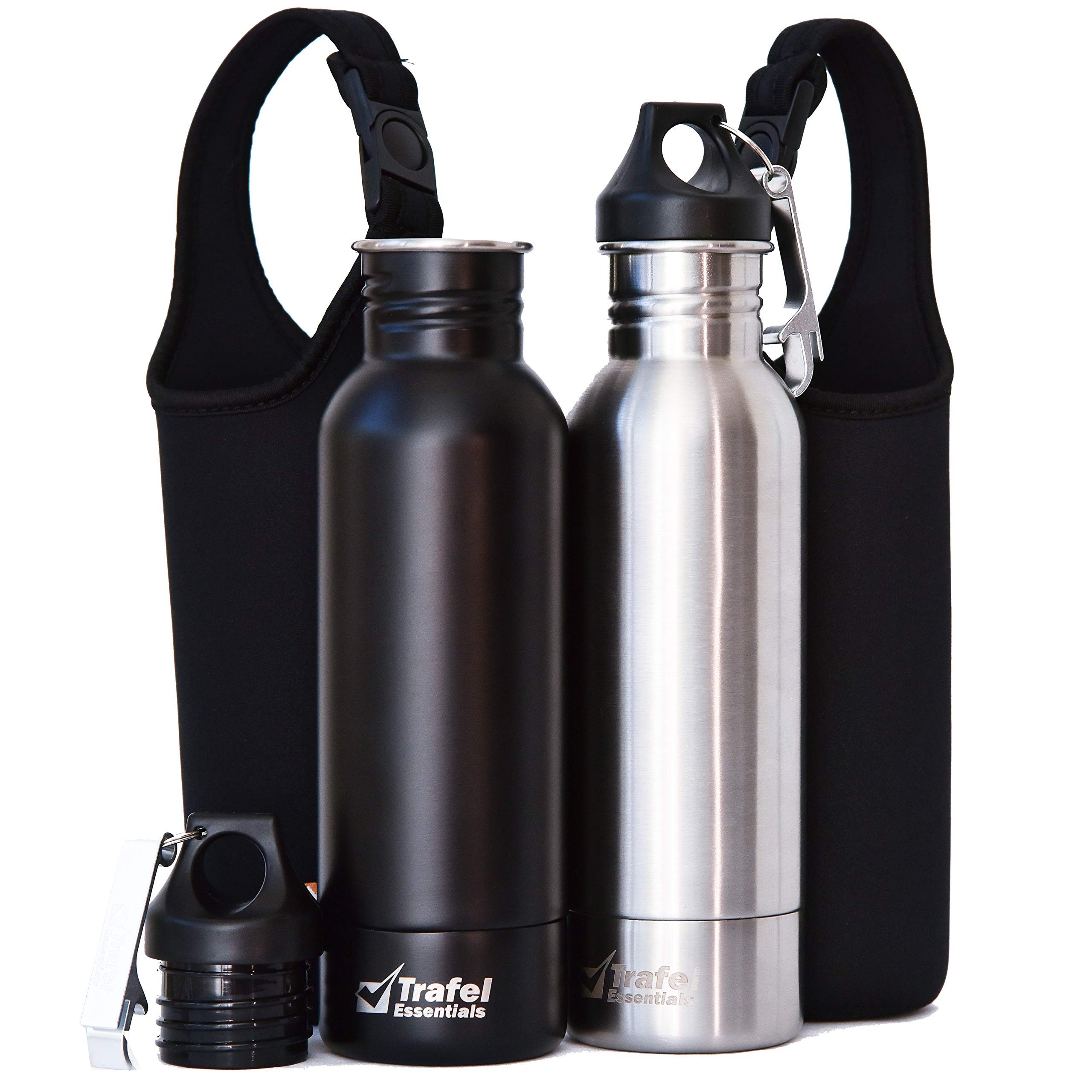 Essential Cooler Stainless Steel Bottle Insulator 2 Pack Gift Set for 12oz beer with Neoprene Sleeves, Bonus Insulated Pads and Bottle Openers - (Matte Black and Silver Colors)