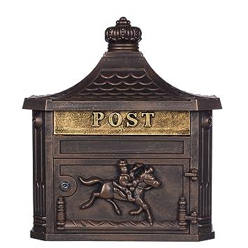 Antiker Großer Und Sehr Edler Briefkasten Gly 04 Bronze