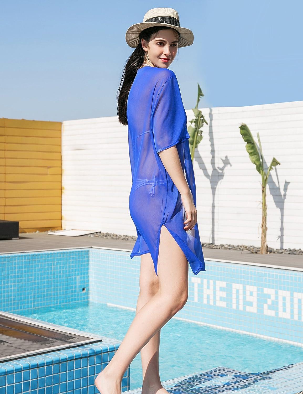 Sommer Chiffon Solide Pareos f/ür Frauen Damen Sehen Durch Strand Kimono Cardigan Cover up Sommerkleider f/ür Bikini EINWEG Verpackung