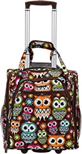 Rockland Melrose Upright Wheeled Underseater Carry-On Luggage, Owl, 16-Inch