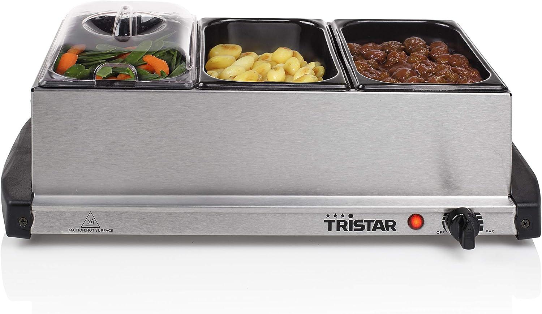 Servidor bufet Tristar BP-2979 – Capacidad: 3 x 1,5 litros – con función de plancha caliente