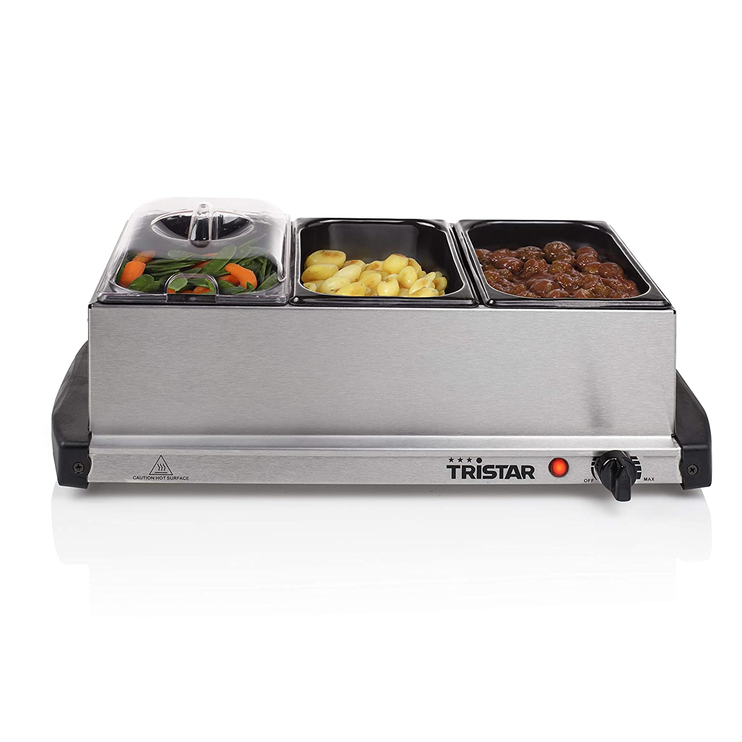 Buffet Warmer and Hotplate - 3 x 1.5lt capacity and Keep Warm Function Tristar BP-2979