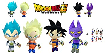 Dragon Ball Super - Pack 4 Peluches 30cm Calidad Super Soft Goku - Goku Super Saiyan