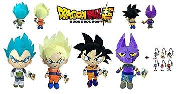 Dragon Ball Super - Pack 4 Peluches 22cm Calidad Super Soft Goku - Goku Super Saiyan (Rubio) - Vegeta Ulta Instinto (Azul) - Dios Beerus (Gato Lila) + ...