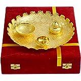Frestol Designer Brass Pooja Thali (29 cm x 29 cm x 5.5 cm, Golden)