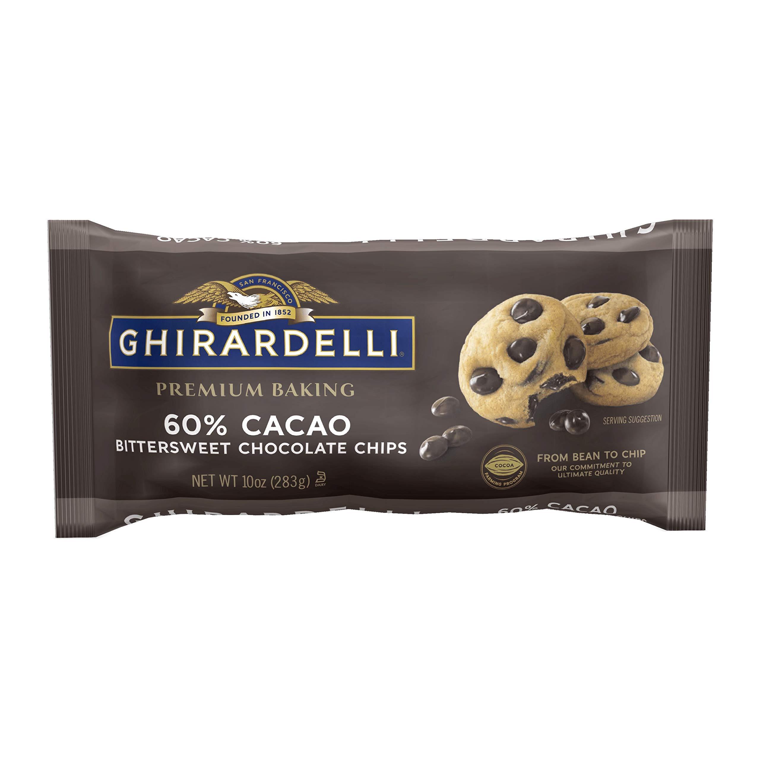 Ghirardelli Chocolate Baking Chips, Bittersweet Chocolate, 10 oz.,(Pack of 6)