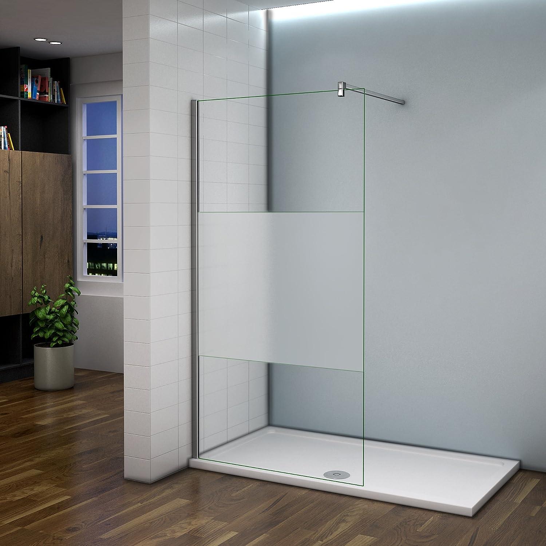 Mampara de ducha de libre entrada, con banda central esmerilada, estilo italiano, con barra de fijación 360º, 900 mm: Amazon.es: Bricolaje y herramientas