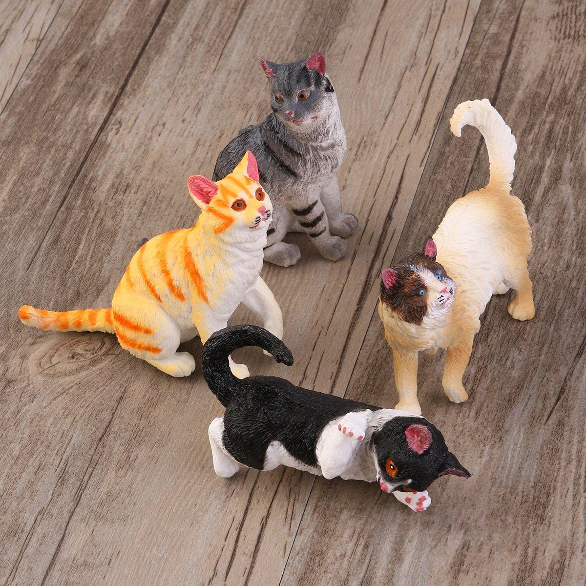 TOYMYTOY Figuras de animales Figuras Modelos Gatos - 4 Piezas
