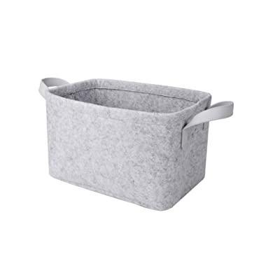Rhyan Felt Storage Basket/Bin with PU Handles, Collapsible & Convenient Storage Solution for Office, Bedroom, Closet, Toys, Laundry(Light Gray)