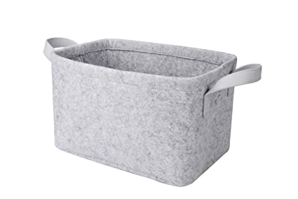 Amazon.com: Rhyan Felt Storage Basket/Bin with PU Handles ...