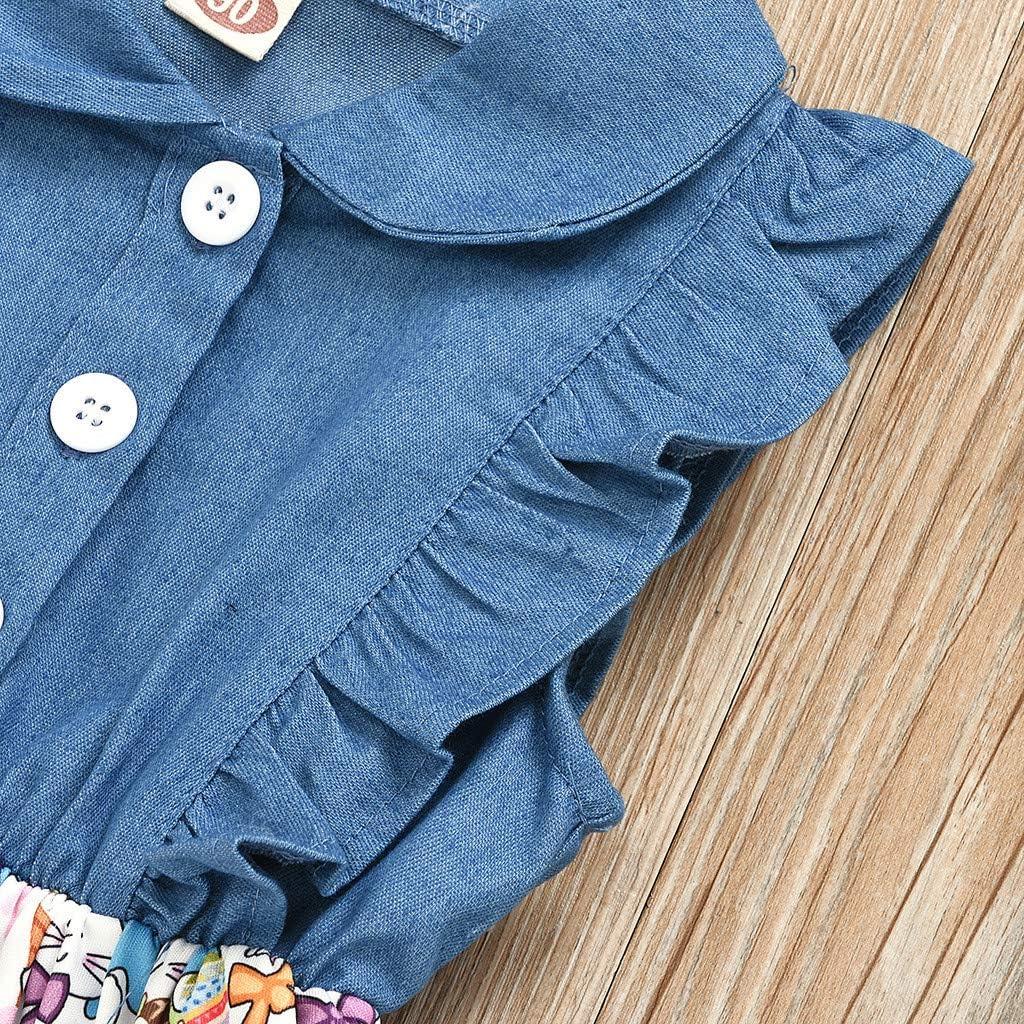KpopBaby Toddler Girls Denim Floral Print Sleeveless Skirt Dresses Sundress Rabbit Easter Skirts Tutu Patchwork Dress