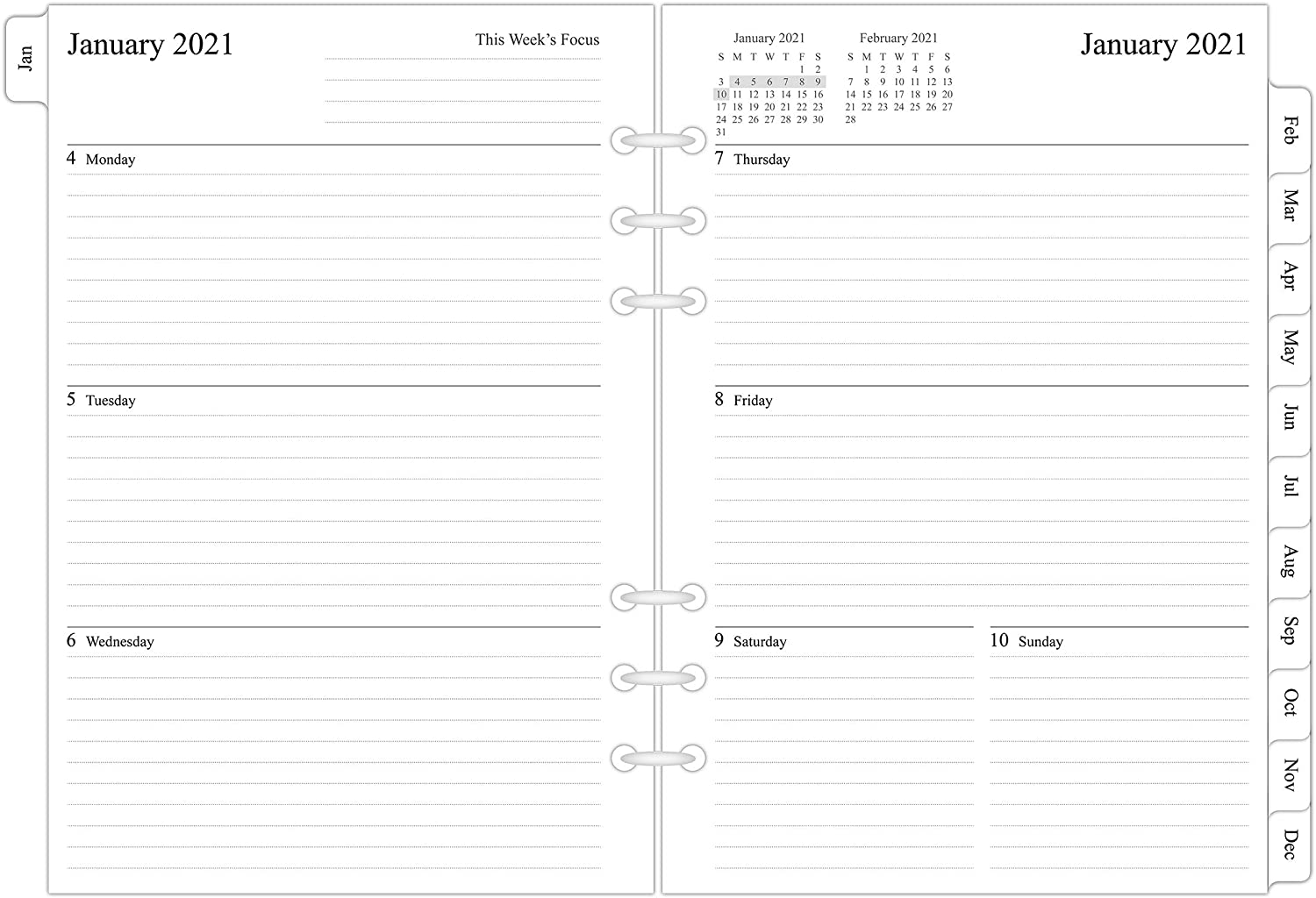 2021 Weekly & Monthly Planner Refill for A5 Ring Binder, 5-1/2