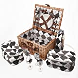 Savisto Luxury 4 Person Wicker Picnic Basket with Full Picnic Set including Plates, Cutlery, Wine Glasses, Cooler Bags & Wine Cooler