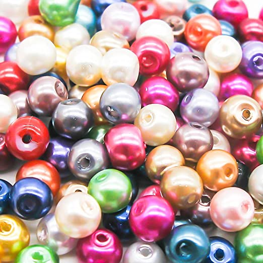 3 opinioni per 100 Mixed Colour Pearl Glass Beads- 6mm by Libbyshouse