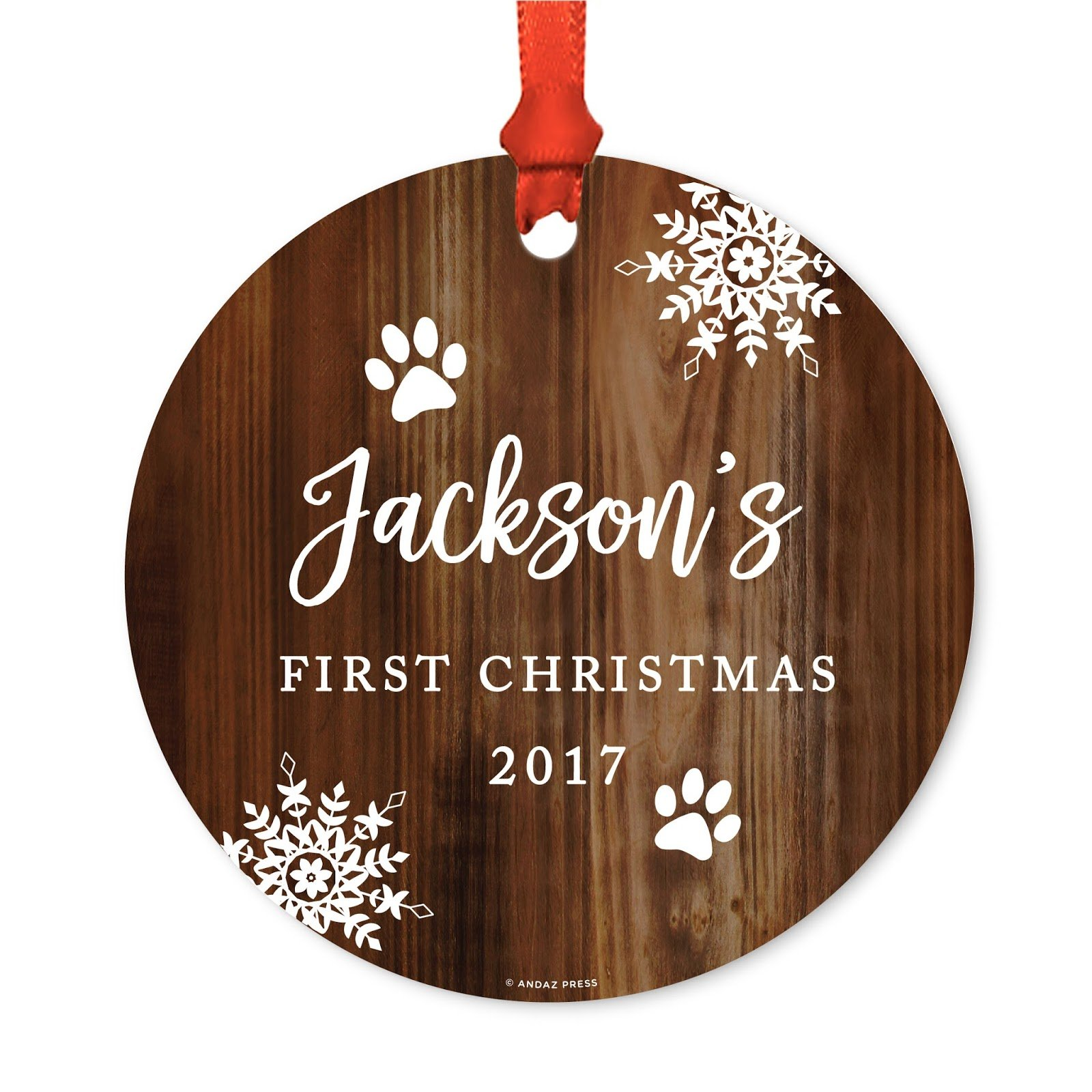 Andaz Press Personalized Dog Cat Pet Animal Round Metal Christmas Ornament, Jackson's First Christmas, 2018, Rustic Wood, 1-Pack, Includes Ribbon and Gift Bag, Custom Name