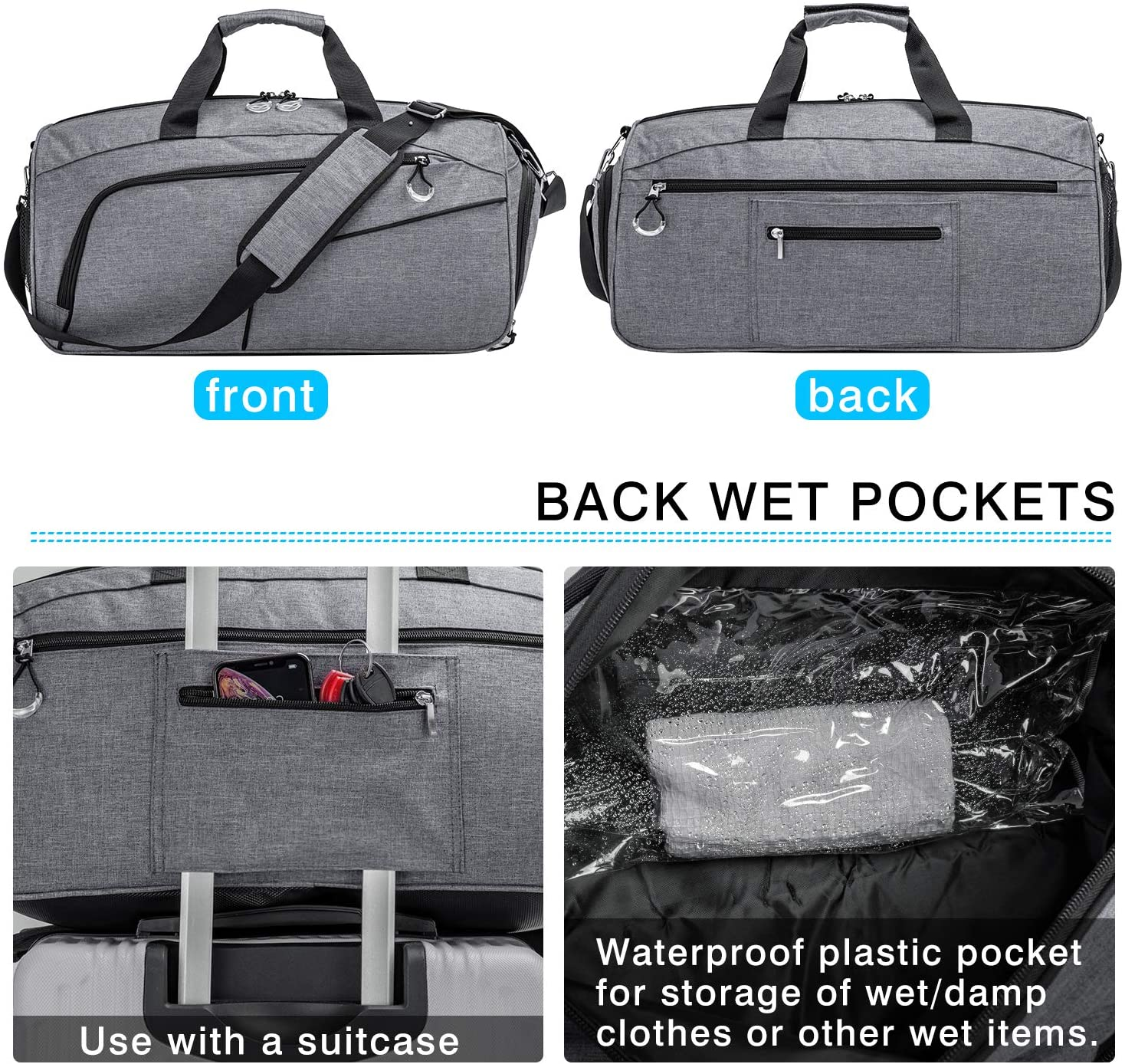   Kuston Sports Gym Bag with Shoes Compartment &Wet Pocket Gym Duffel Bag Overnight Bag for Men and Women   Sports Duffels