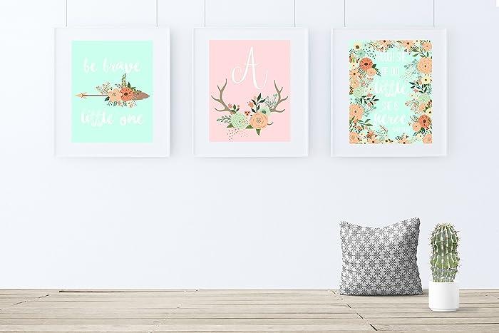 amazon com coral and mint nursery decor girl nursery art boho