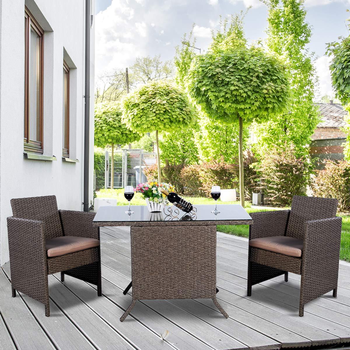 Tavolo e 2 Poltrone da Salotto con Cuscini Set di Mobili da Giardino in Rattan COSTWAY 3 Pezzi