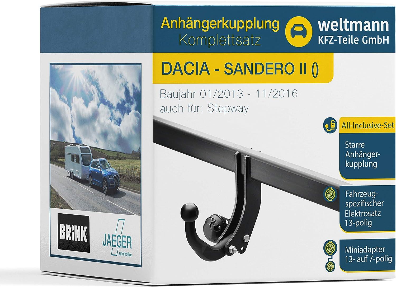 Weltmann AHK Komplettset Dacia SANDERO II Brink Starre Anh/ängerkupplung fahrzeugspezifischer Jaeger Automotive Elektrosatz 13-polig