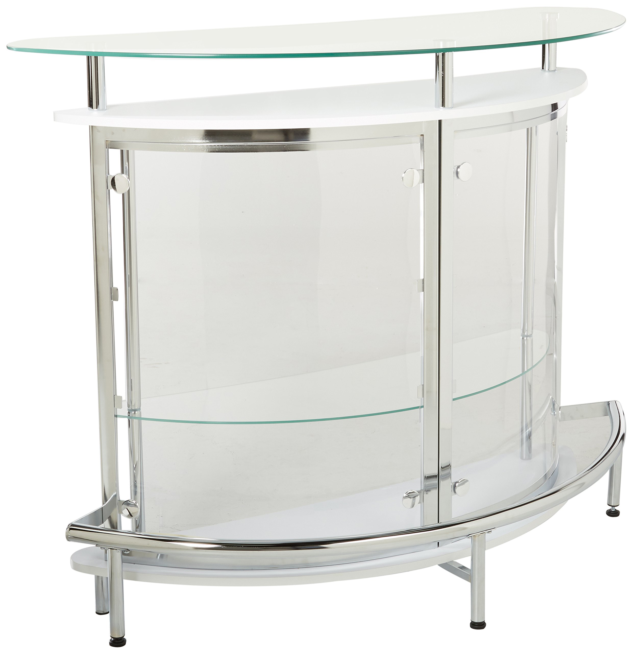 Bar Unit with Acrylic Front White, Chrome and Clear by Coaster Home Furnishings