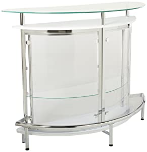Bar Unit with Acrylic Front White, Chrome and Clear