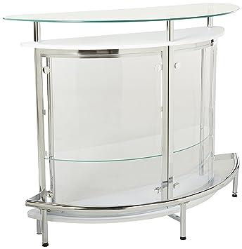 Amazoncom Coaster Contemporary Tempered Glass White Bar Unit