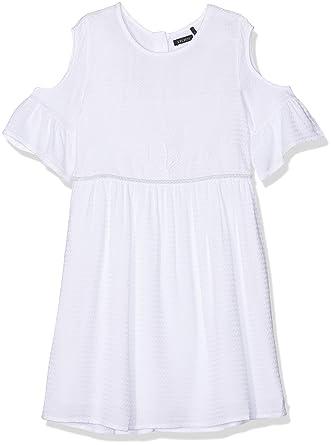 701565c8a09bb IKKS Junior Robe Blanche Epaule Denudee Manches A Volants Robe Fille Blanc ( Blanc Optique 01