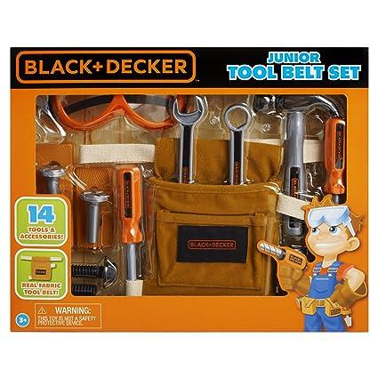 66bcc187f Amazon.com: Black & Decker Junior 14 Piece Toy Tool Belt Set: Toys & Games