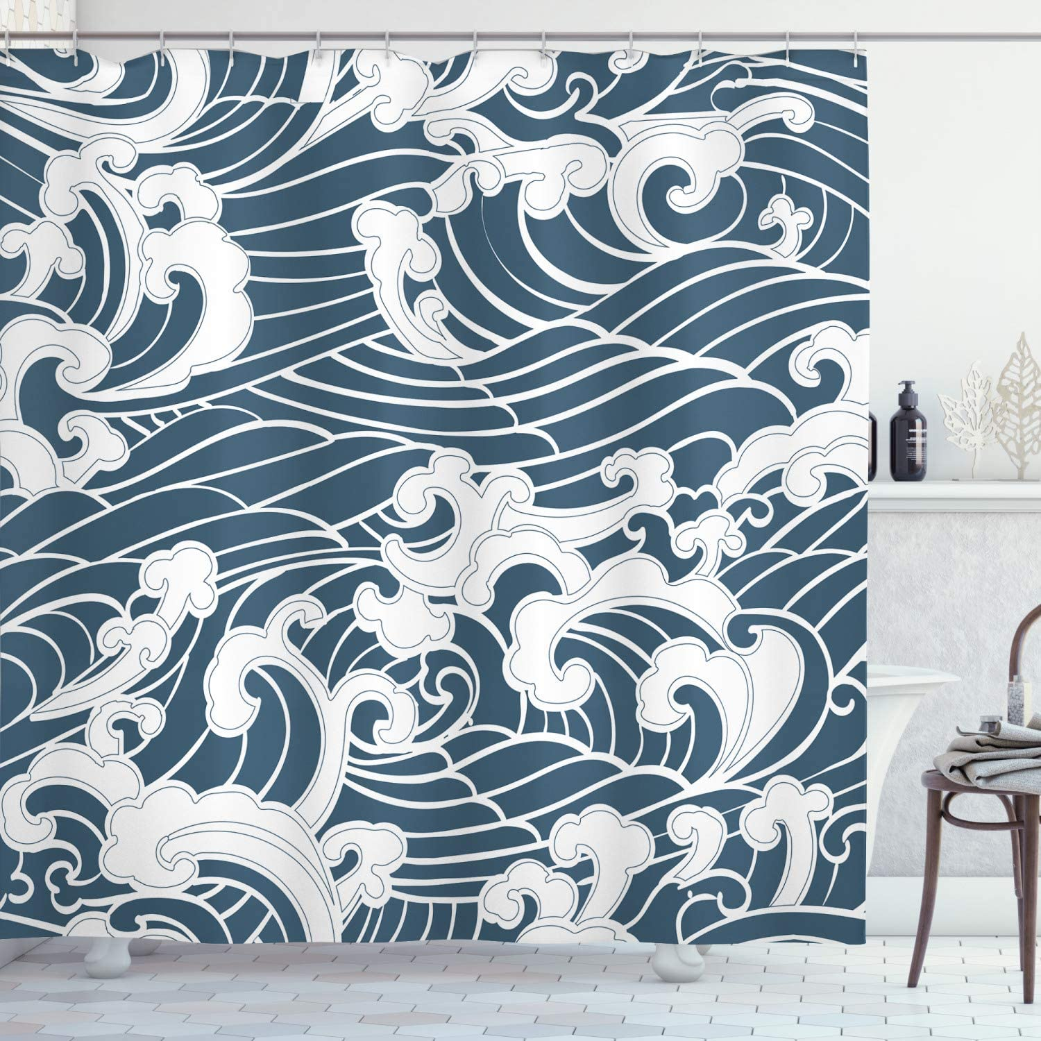 """Ambesonne Japanese Wave Shower Curtain, Hand Drawn Traditional Style Aquatic Doodle River Storm Retro Abstract, Cloth Fabric Bathroom Decor Set with Hooks, 70"""" Long, Slate Blue"""