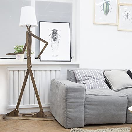 HROOME Modern Floor Lamp with Shade for Living Room Wood Home ...