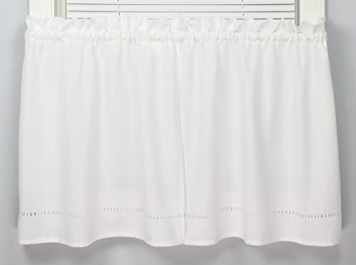Moments 58 Inches Wide x 30 Inches Long Polyester Embroidered Tier Curtain, White