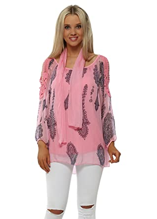 bbde34616d0f3e Made In Italy Candy Pink Silk Paisley Print Cold Shoulder Top & Scarf One  Size Pink