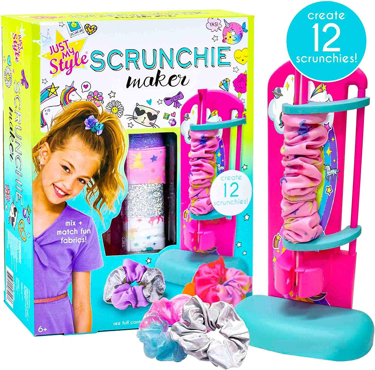 Just My Style D.I.Y. Scrunchie Maker by Horizon Group USA, Design Your Own Colorful Satin Scrunchies Hair Bands, Easy-to-Use Tool & Gemstones Included