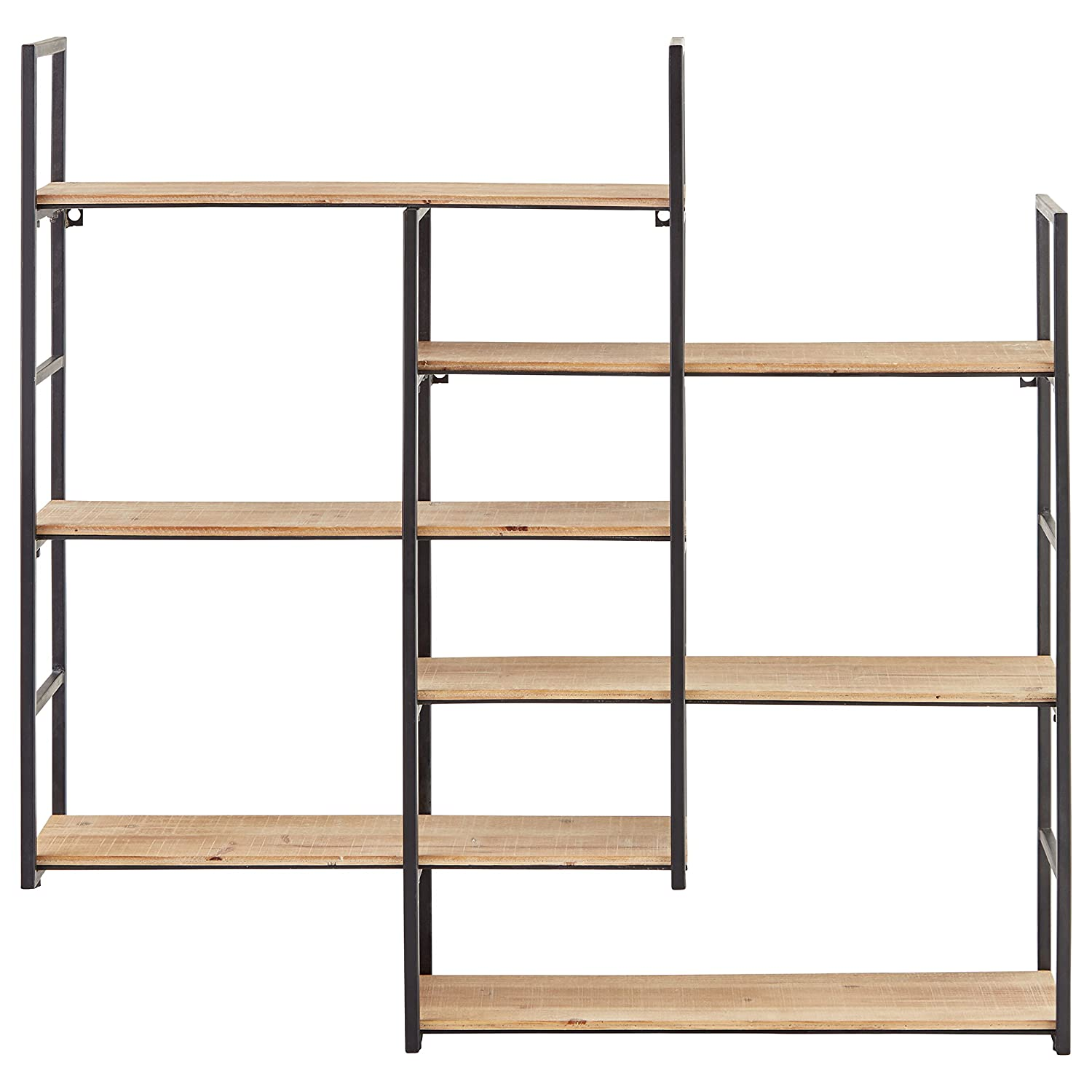 Superbe Amazon.com: Rivet Modern Wood And Metal Floating Wall Storage Shelves   36  Inch, Natural And Black: Home U0026 Kitchen