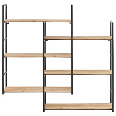 Rivet Modern Wood and Metal Floating Wall Storage Shelves - 37.25 W x 36.25 H, Natural and Black