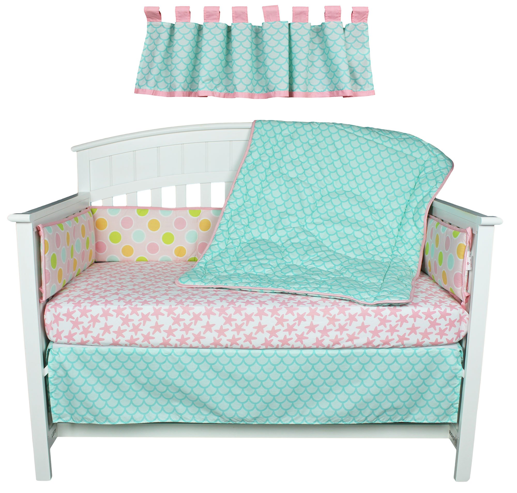 Sea Sweeties Pink and Blue Ocean 5 Piece Baby Girl Crib Bedding with Bumper by Belle by Belle (Image #5)