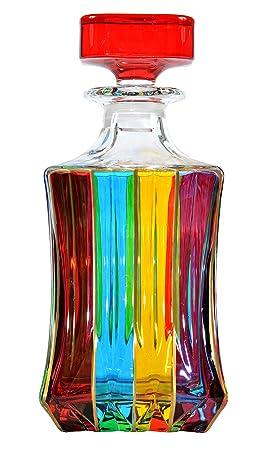 BOTTIGLIA ADAGIO Botella Licor cristal Mano Colores pintadas Tradición Venecia